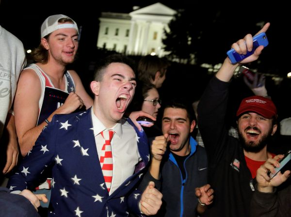 Supporters of Republican presidential nominee Donald Trump rally in front of the White House in Washington, on Nov. 9.