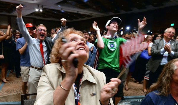 Lyn Thrasher reacts with the crowd as North Carolina Republican presidential candidate Donald Trump is declared the state's w