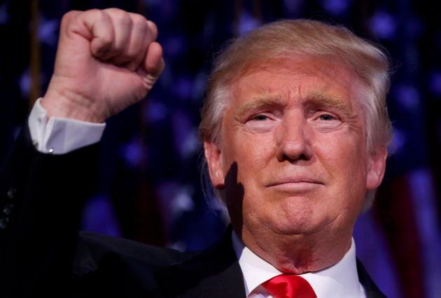 Hail to the Commander-In-Chief: Donald Trump speaks at his election night rally in Manhattan on Wednesday