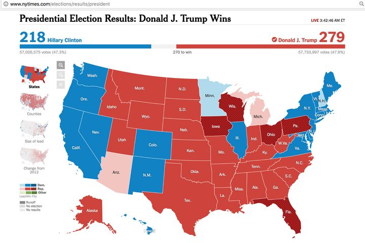 Electoral map as of 3:42 am ET on 11/9/16