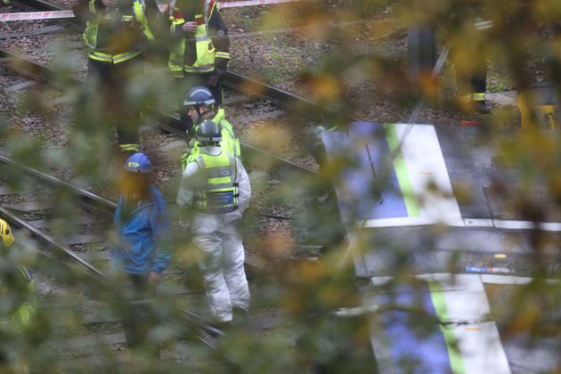 The two-car tram turned over early on Wednesday