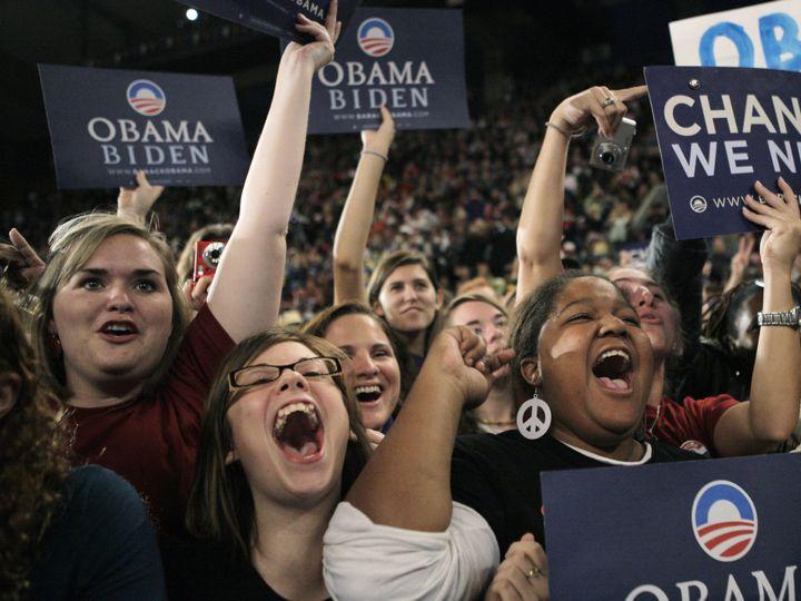 <em>Millennials rallying for President Obama in 2008.</em>
