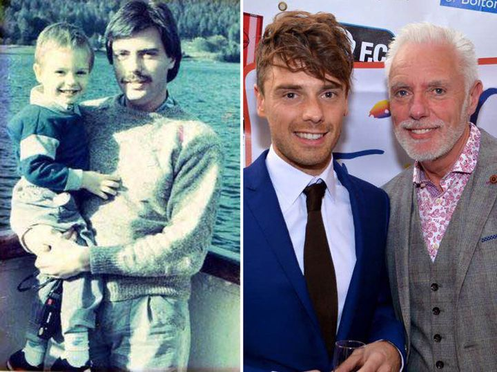 Left: James Edgington as a child being held by his father, Graham.Right: James and his dad recently.