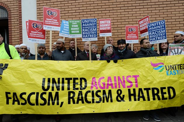 Muslims protest outside East London Mosque in Whitechapel after Trump called for Muslims to be banned...