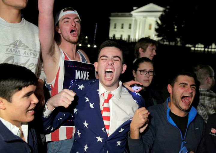 Supporters of Republican presidential nominee Donald Trump rally in front of the White House in Washington, U.S. November 9,