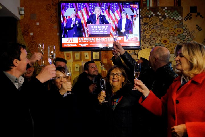 Residents celebrated the presidential election in Melania Trump's hometown of Sevnica, Slovenia.