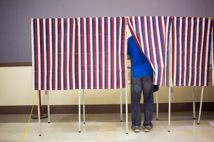 A voter fills out a ballot in Portland, Maine, on Nov. 8.