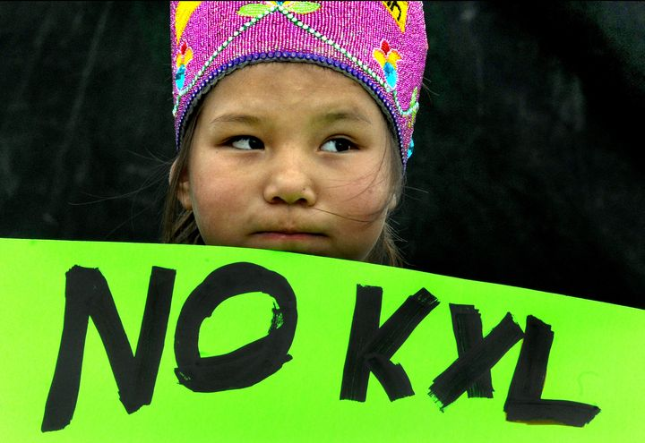 Shawnee Rae, 8, was with a group of Native American activists from the Sisseton-Wahpeton tribe who came to protest the Keysto