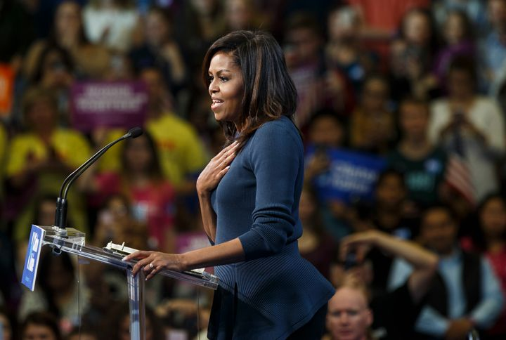 First lady Michelle Obama speaks during a campaign rally for Hillary Clinton.