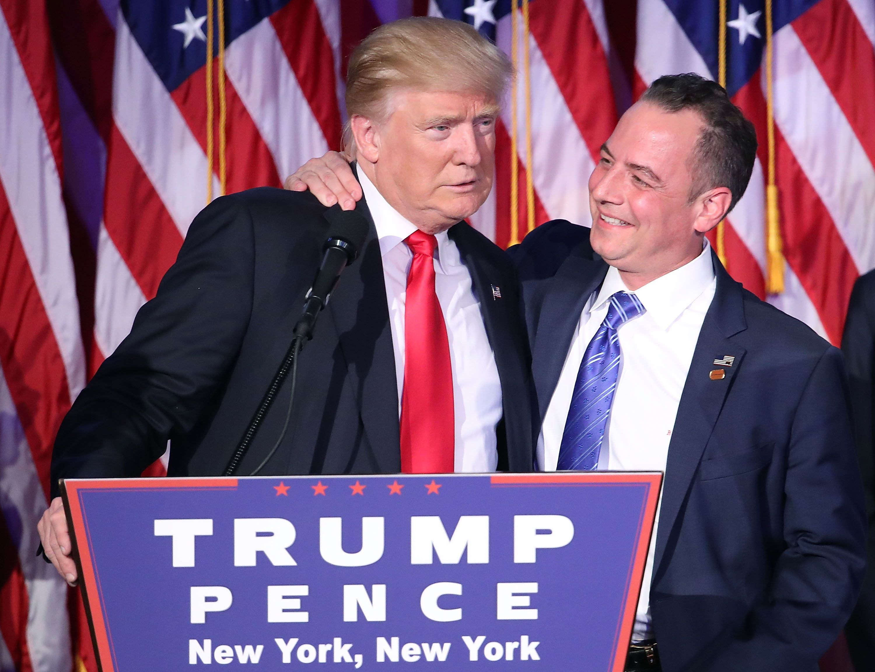 Donald Trumpand Reince Priebus, chairman of the Republican National Committee, on Nov. 9 in New York.