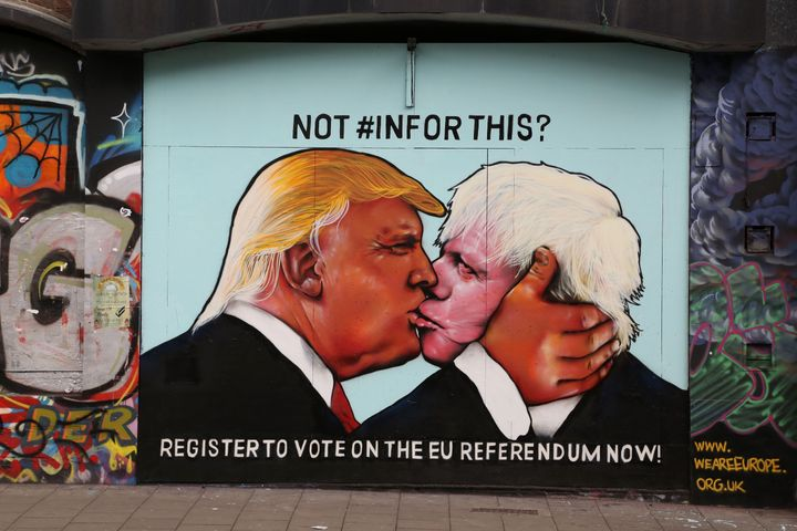 A mural showing Trump kissing Boris Johnson, the former mayor of London and current foreign secretary of the United Kingdom.