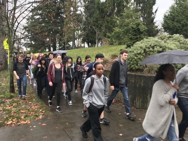 <em>West Seattle High School students march in protest following Donald Trump winning the presidential election.</em>