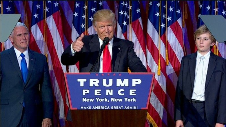 President-elect Donald Trump delivers his acceptance speech.