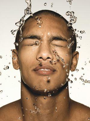 Men haired shower long Gay