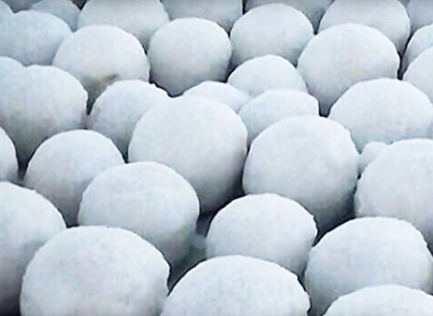 A small group of thousands of snowballs found on a beach near the village of Nyda, in northwest