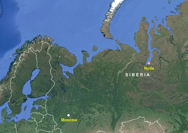 This map shows the location of the Siberian village of Nyda, where thousands of snowballs of varying...