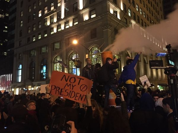 Protesters take to the streets of Manhattan, New York.