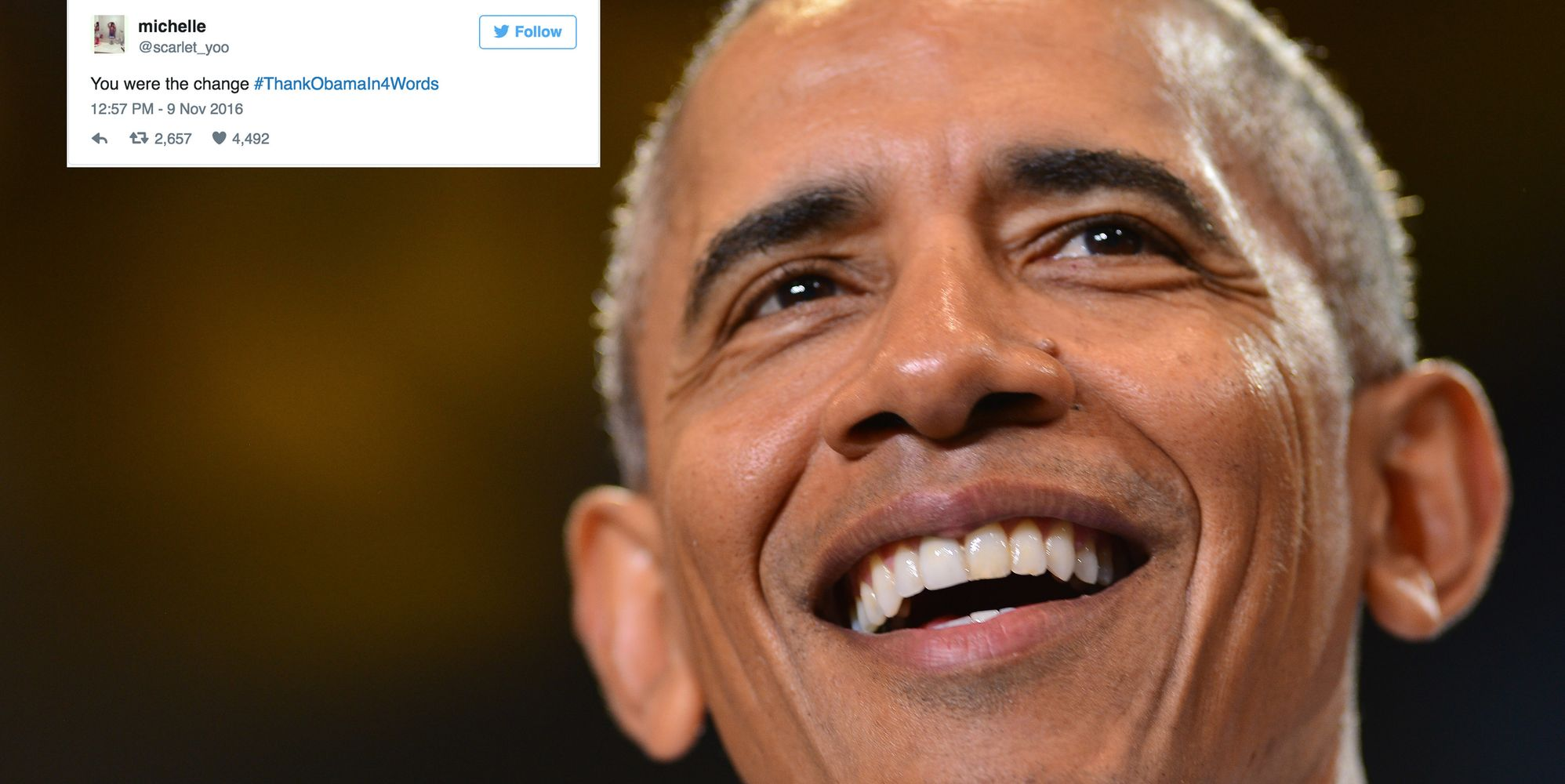 twitter users take this moment to thank president barack obama in twitter users take this moment to thank president barack obama in 4 words the huffington post