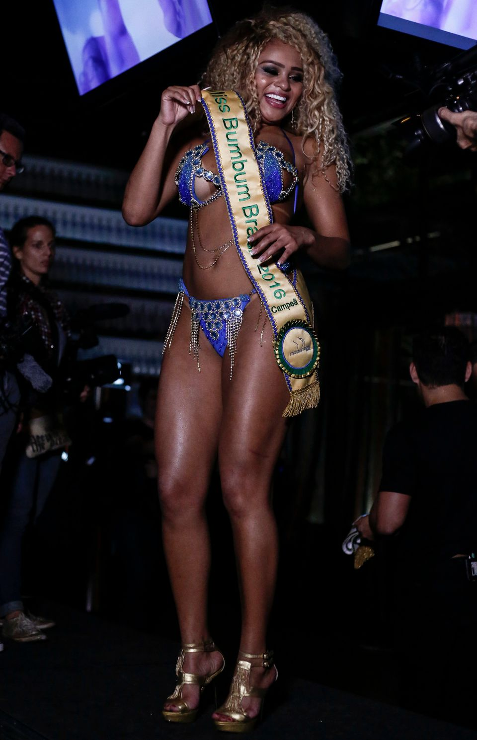 Erika Canela from Bahia smiles after winning the Miss Bumbum Brazil 2015 pageant in Sao Paulo, Brazil on November 9, 2016.  F