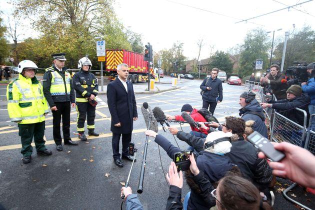 London Mayor Sadiq Khan addresses the press at the scene of the