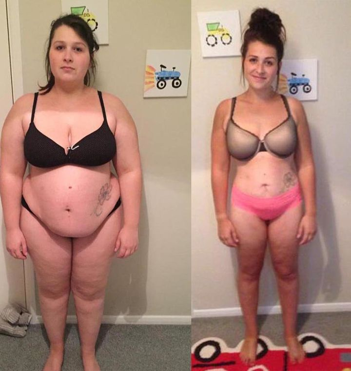 Elli before and after losing weight.