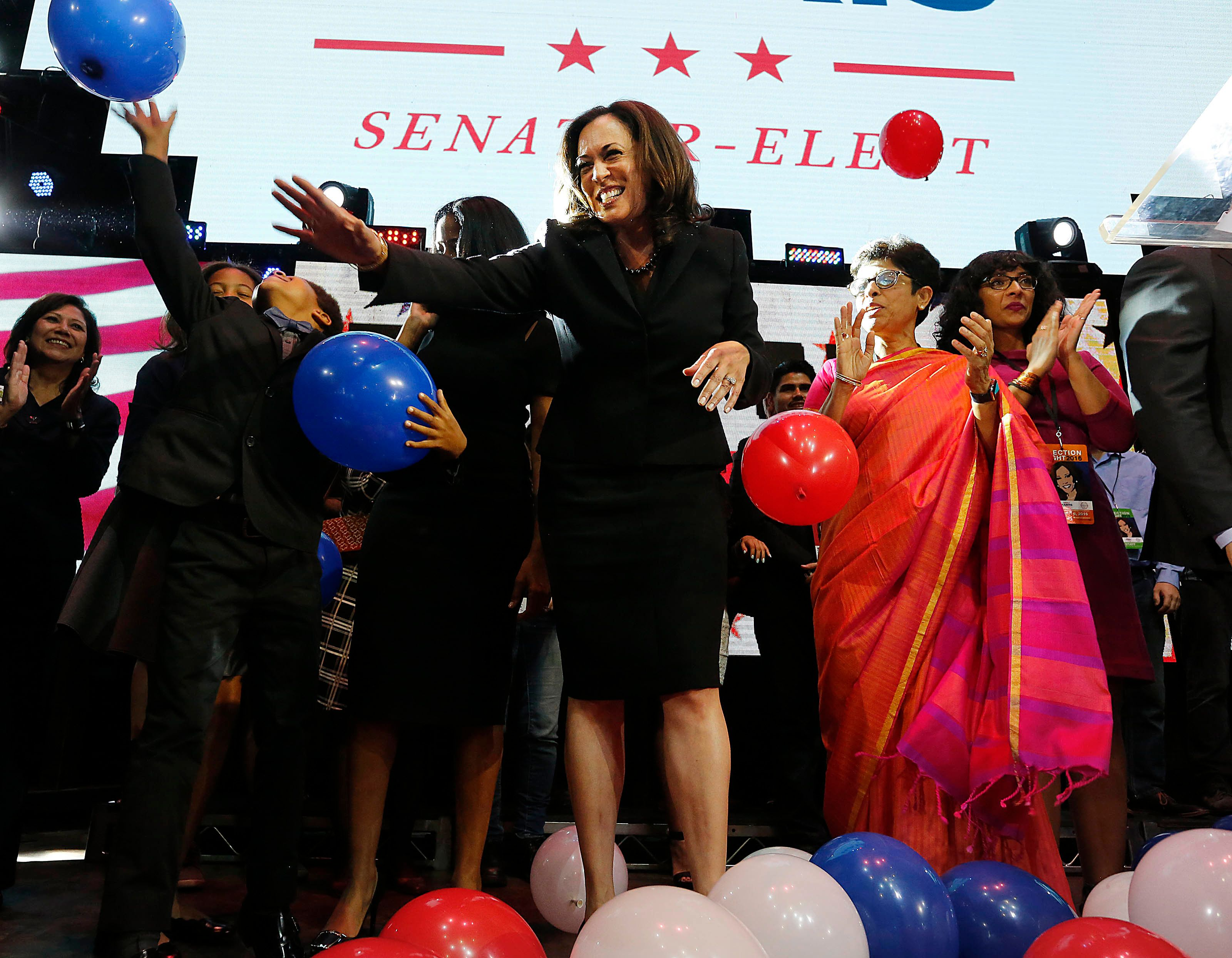 The celebration of Kamala Harris' win in California's Senate race was overshadowed by concerns over Donald Trump's presi