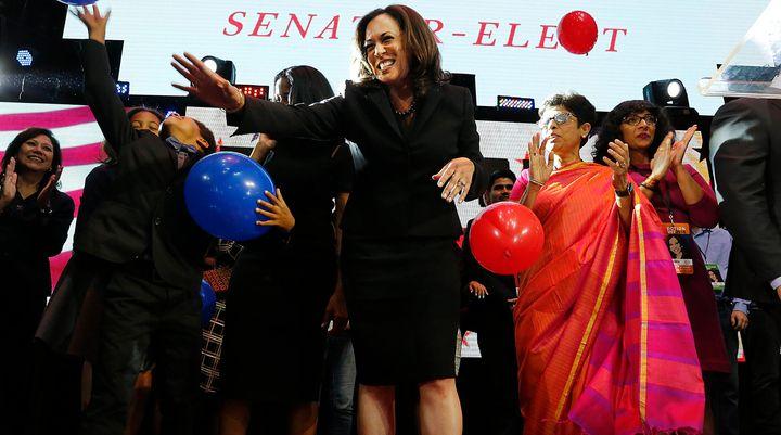 The celebration of Kamala Harris' win in California's Senate race was overshadowedby concerns over Donald Trump's presi