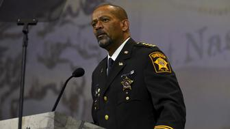 Milwaukee Sheriff David Clarke speaks during the National Rifle Association's annual meeting in Nashville, Tennessee April 10, 2015.  REUTERS/Harrison McClary