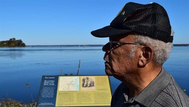 Frank White, a retired Air Force officer, at Aquia Landing Park, a onetime crossroad for slave trading in Stafford County, Vi