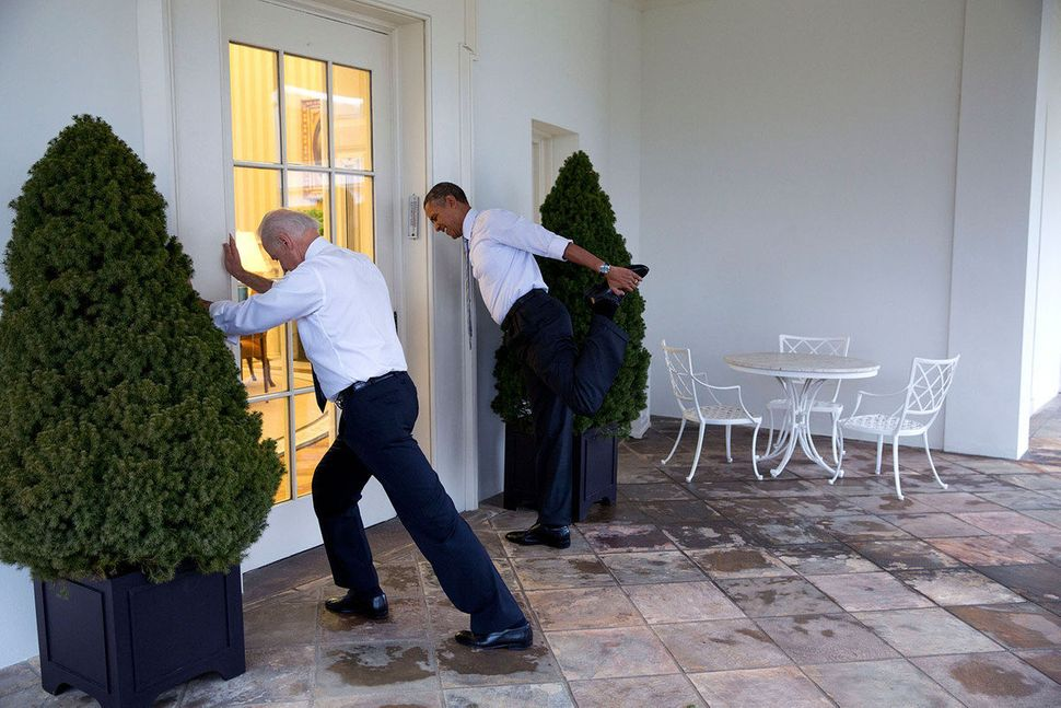 President Barack Obama and Vice President Joe Biden participate in a Let's Move video taping on the Colonnade of the White Ho