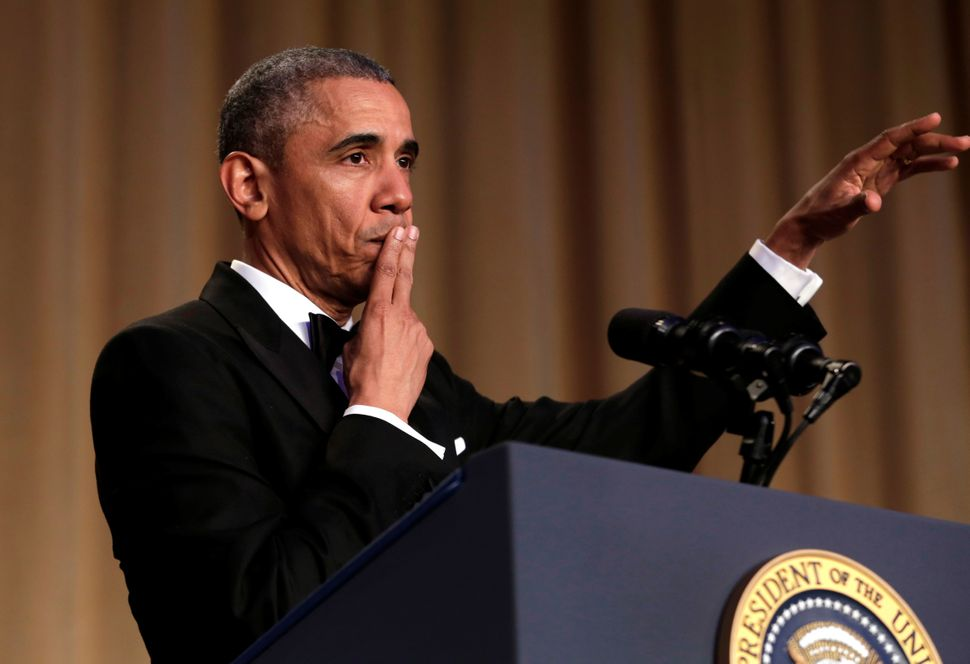 """U.S. President Barack Obama says """"Obama out!"""" at the White House Correspondents' Association annual dinner on April 30, 2016."""