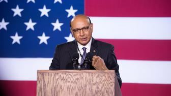 NEW YORK, NY - NOVEMBER 08:  Khizr Khan speaks at Democratic presidential nominee Hillary Clinton's election night party at Javits Center on November 8, 2016 in New York City.  (Photo by Noam Galai/FilmMagic)