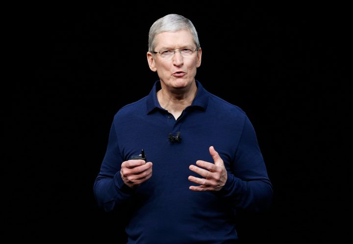 Apple CEO Tim Cook sent a reassuring memo to U.S. staff Wednesday, Nov. 9, 2016, following Donald Trump's election win, sayin