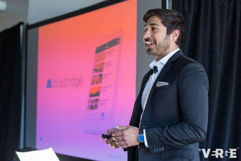 Santiago Jaramillo pitches his company Bluebridge and Emplify