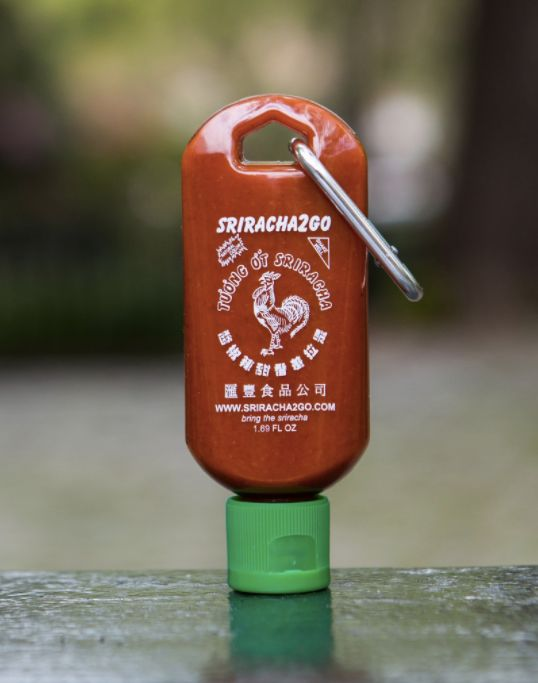 Help your loved one always be preparedto feast with hot sauce at the ready. The 1.7 oz. keychain of Sriracha will make