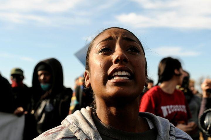 A woman cries during a protest against the Dakota Access pipeline near the Standing Rock Indian Reservation in North Dakota.