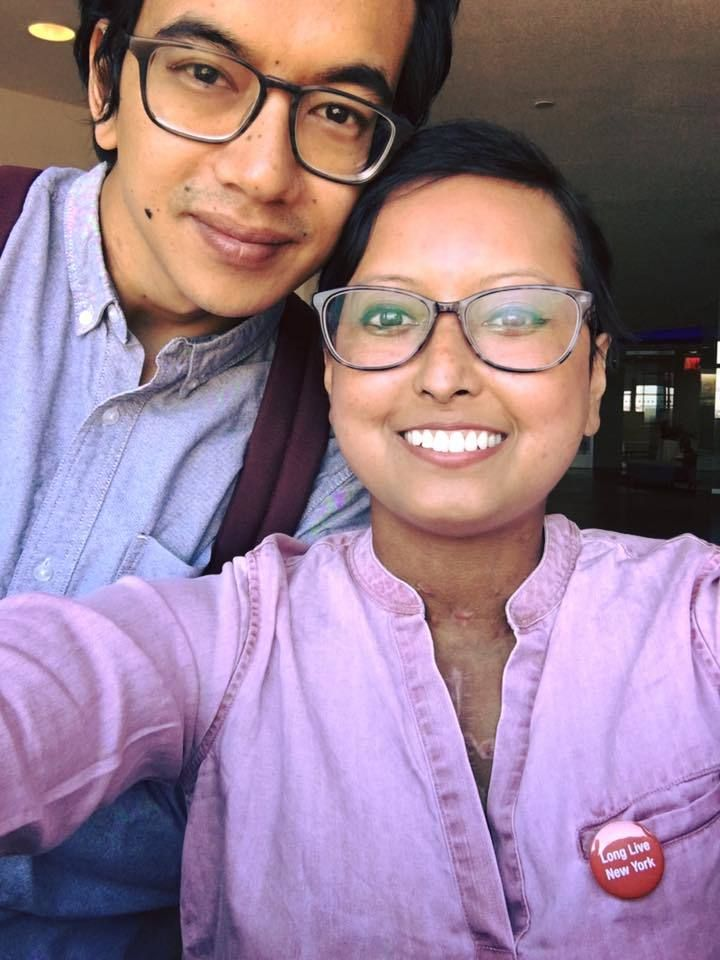 Prasha Tuladhar, a current volunteer at organ procurement agency LiveOnNY, pictured with her husband.