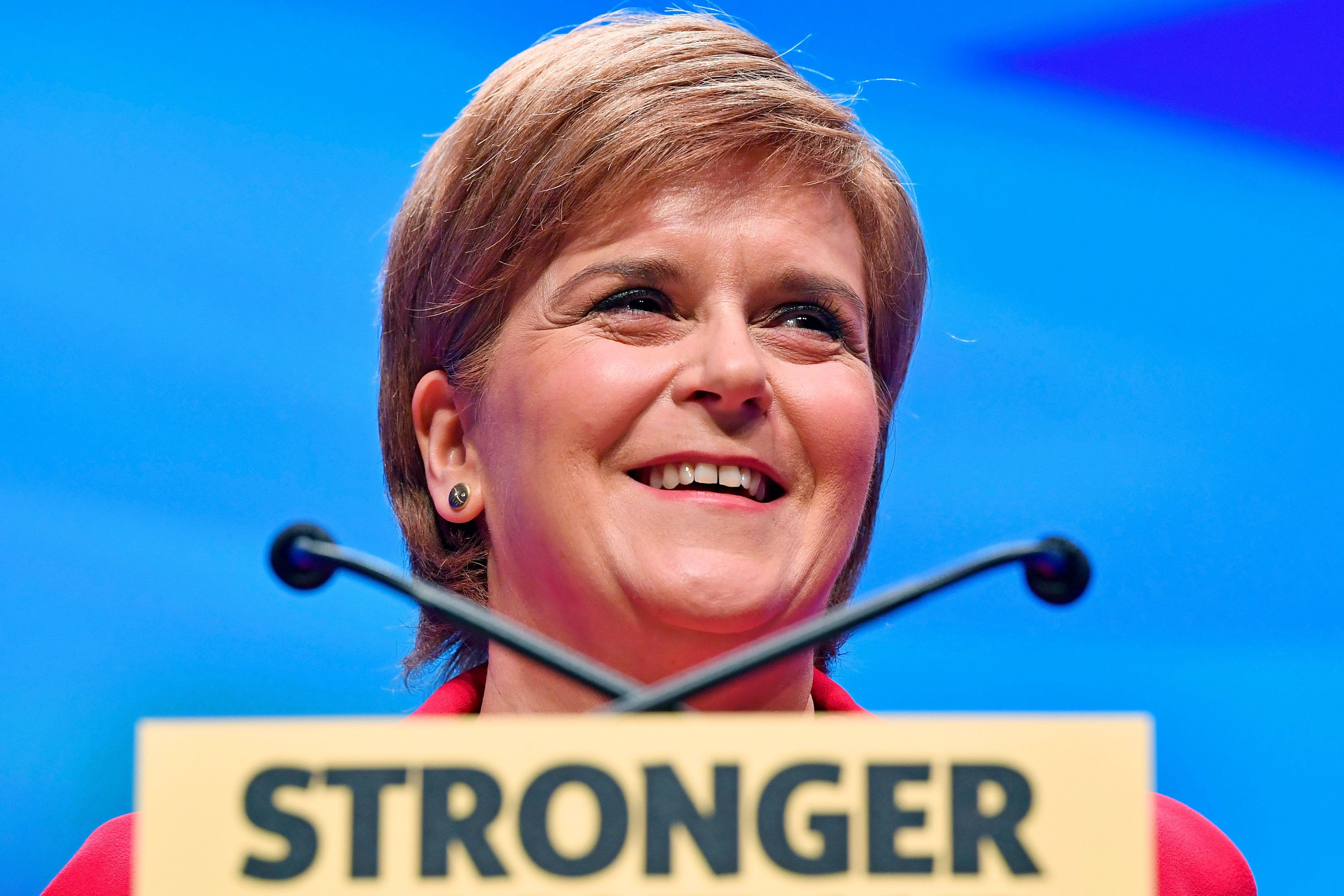 GLASGOW, SCOTLAND - OCTOBER 15:  First Minister and SNP leader Nicola Sturgeon addresses the Scottish National Party Conference 2016 on October 15, 2016 in Glasgow, Scotland. Nicola Sturgeon ended her party's conference with a speech about a 'new political era' in the UK, stating that Scotland is 'open for business' in the post-Brexit era while also speaking about domestic policy priorities.  (Photo by Jeff J Mitchell/Getty Images)