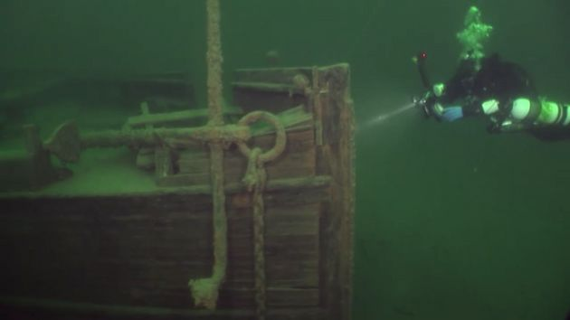 A diver approaches the J.S. Seaverns, which sank in