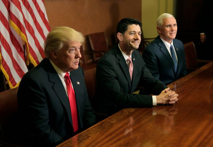 President-elect Donald Trump meets with House Speaker Paul Ryan (R-Wis.) and Vice President-elect Mike Pence.