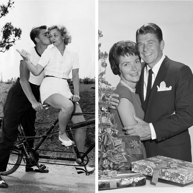 Ronald Reagan with first wife Jane Wyman (left) and with his second wife Nancy (right).