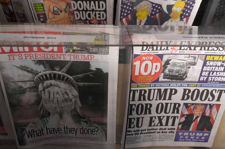 British newspapers had varied editorial reactions to Donald Trump's victory in the U.S. presidential election.