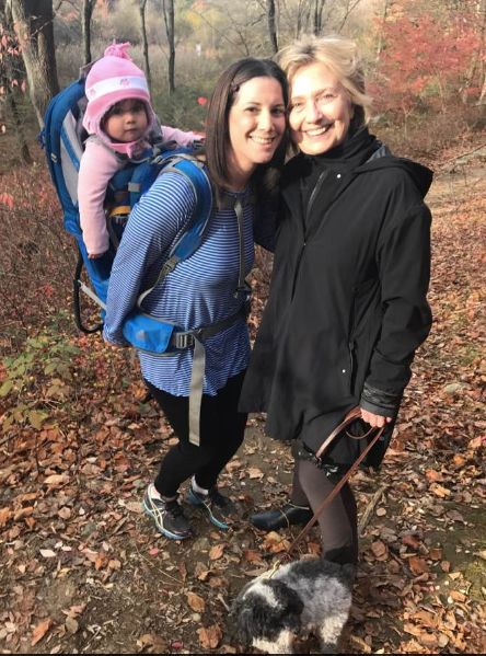 Margot Gerster poses for a photo with Hillary Clinton on a hiking trail in Chappaqua, New York on Nov...