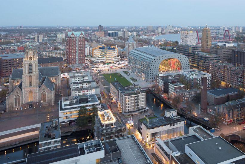 <em>Modern architecture of Rotterdam's Binnenrotte neighborhood including the city's new market hall.</em>