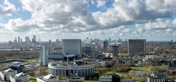 <em>The Rotterdam skyline with Erasmus University in the foreground, as seen from Brainpark Rotterdam.</em>