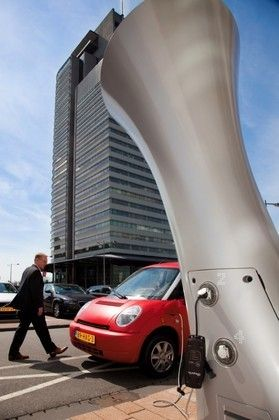 <em>One of Rotterdam's new electric vehicle</em> <em>charging stations.</em>