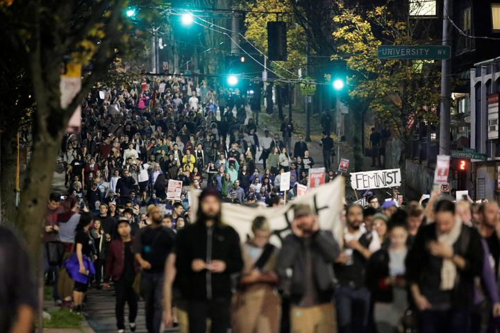 Protesters in the streets of Seattle.