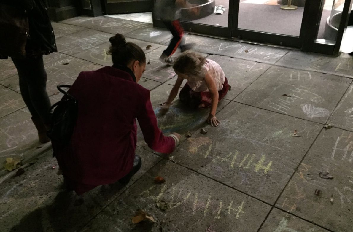 Kids Write Messages Of Love Outside Hillary Clinton's