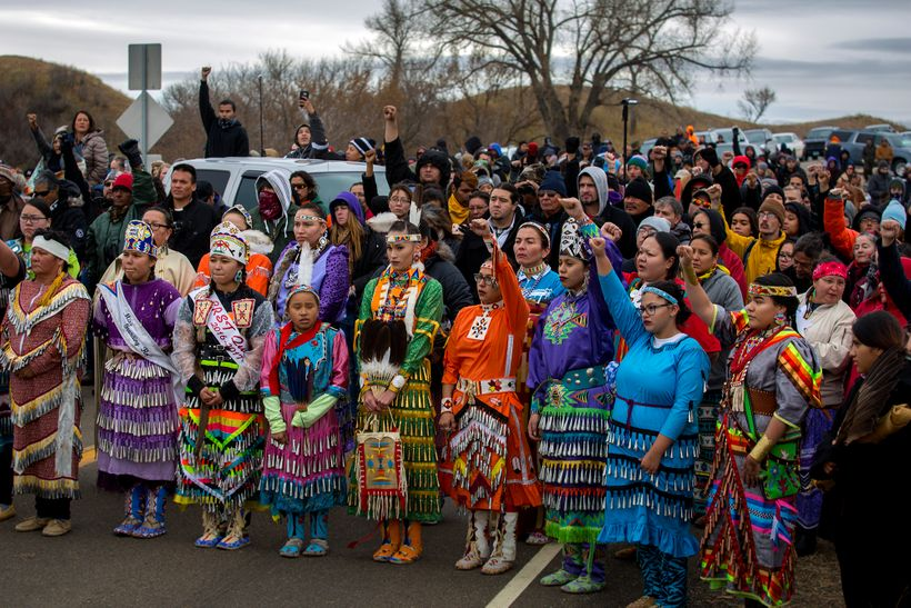 On October 27 at the Treaty/Sacred Ground camp front line, 40 Jingle dancers and hundreds of people stood in solidarity after