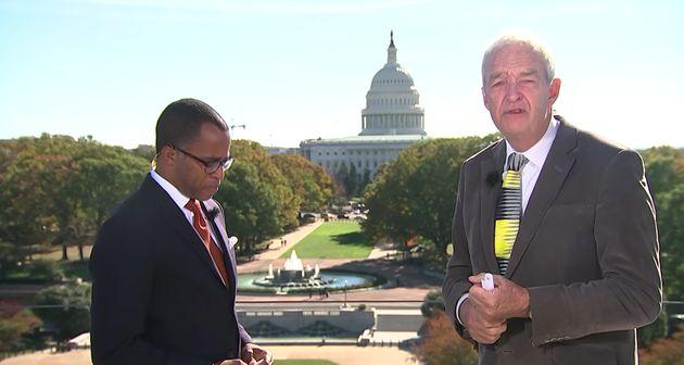 Jonathan Capehart, left, speaks with Jon Snow inWashington